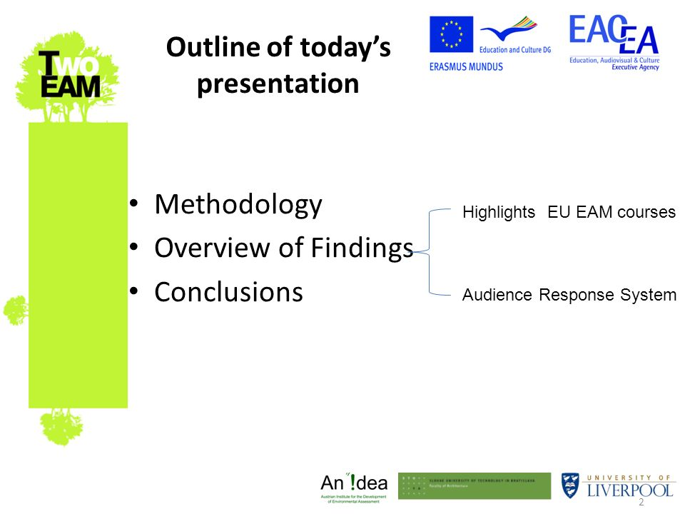2 Outline of todays presentation Methodology Overview of Findings Conclusions Highlights EU EAM courses Audience Response System