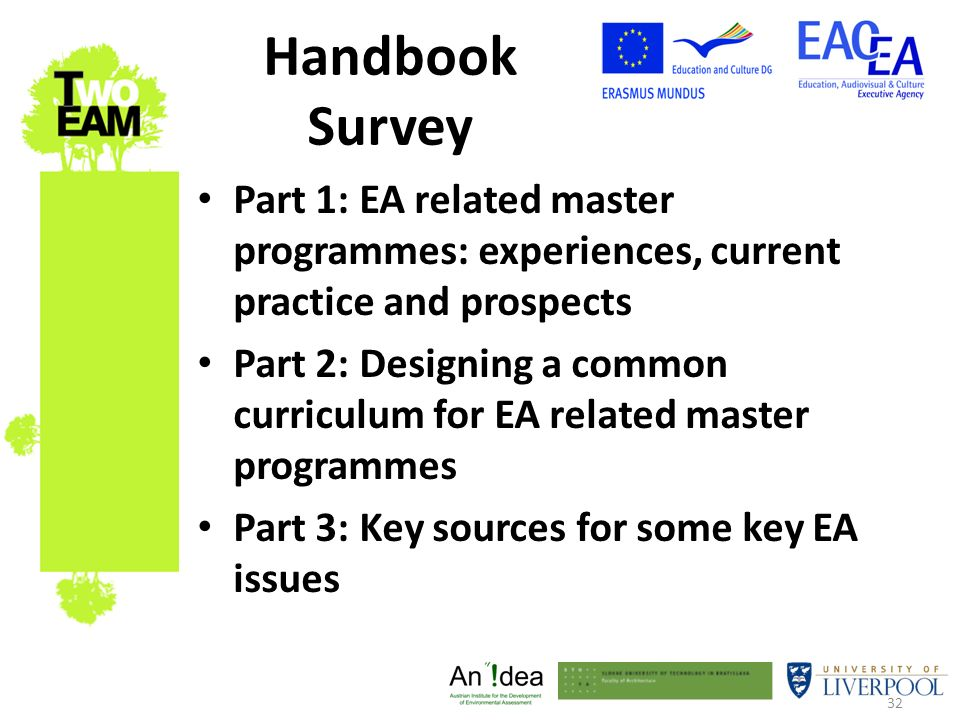 32 Handbook Survey Part 1: EA related master programmes: experiences, current practice and prospects Part 2: Designing a common curriculum for EA related master programmes Part 3: Key sources for some key EA issues