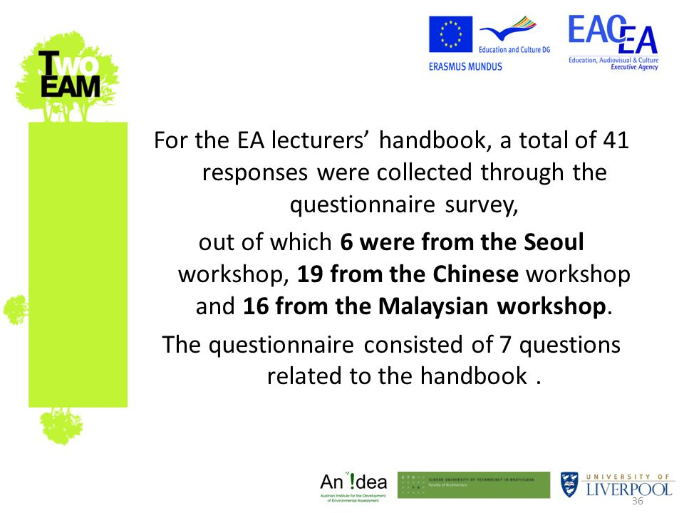 36 For the EA lecturers handbook, a total of 41 responses were collected through the questionnaire survey, out of which 6 were from the Seoul workshop, 19 from the Chinese workshop and 16 from the Malaysian workshop.