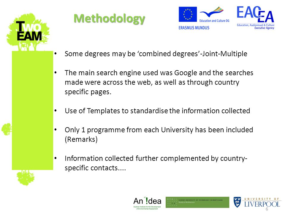 6 Some degrees may be combined degrees-Joint-Multiple The main search engine used was Google and the searches made were across the web, as well as through country specific pages.