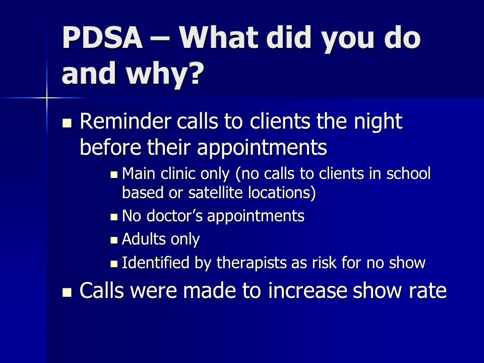 PDSA – What did you do and why.