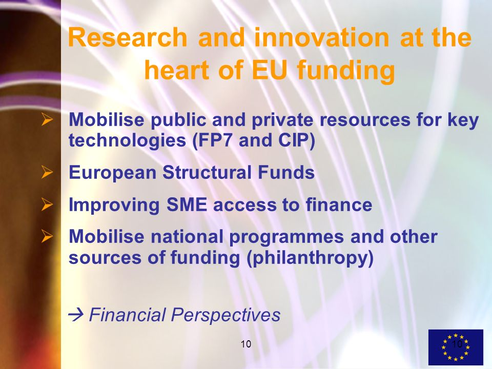 10 Research and innovation at the heart of EU funding Mobilise public and private resources for key technologies (FP7 and CIP) European Structural Funds Improving SME access to finance Mobilise national programmes and other sources of funding (philanthropy) Financial Perspectives