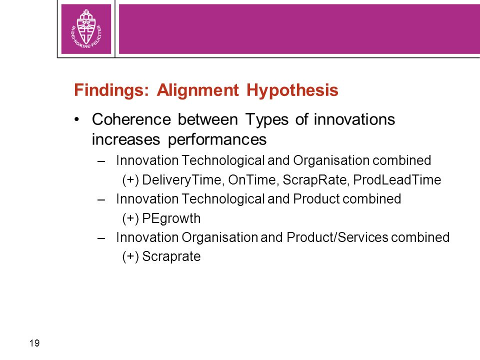 19 Findings: Alignment Hypothesis Coherence between Types of innovations increases performances –Innovation Technological and Organisation combined (+) DeliveryTime, OnTime, ScrapRate, ProdLeadTime –Innovation Technological and Product combined (+) PEgrowth –Innovation Organisation and Product/Services combined (+) Scraprate