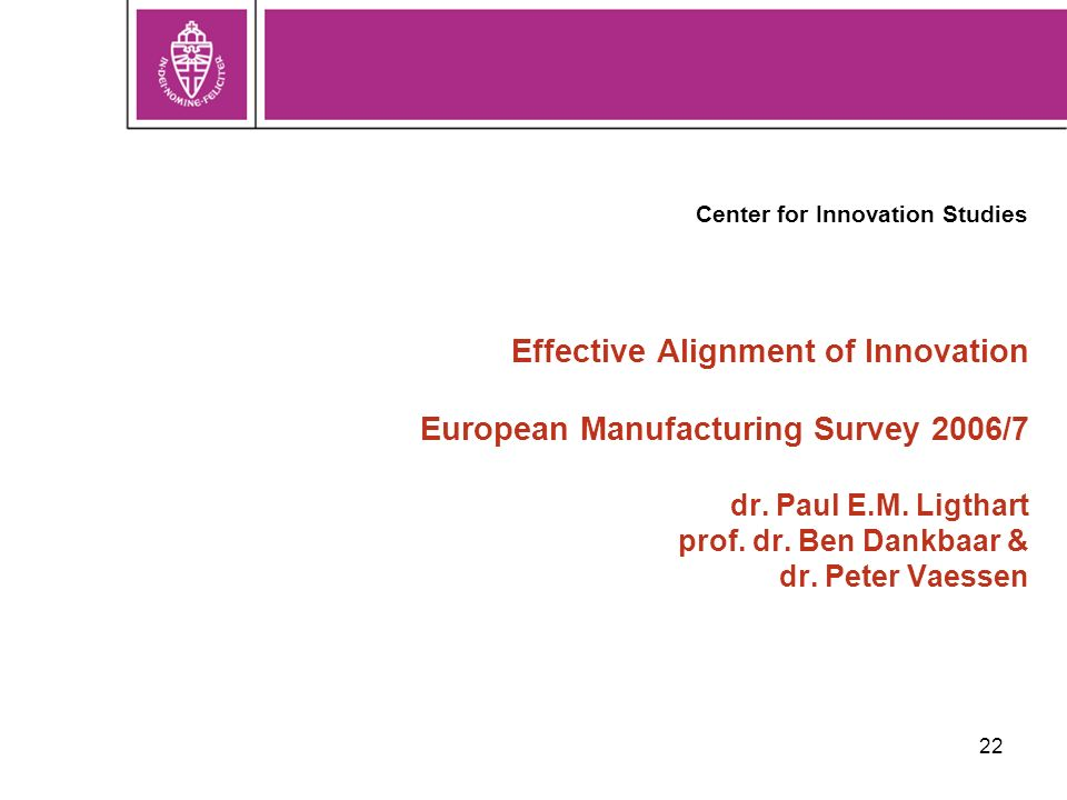 22 Effective Alignment of Innovation European Manufacturing Survey 2006/7 dr.