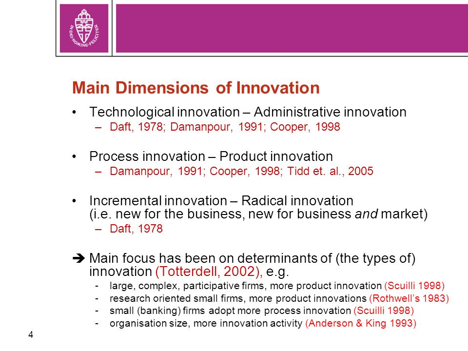 4 Main Dimensions of Innovation Technological innovation – Administrative innovation –Daft, 1978; Damanpour, 1991; Cooper, 1998 Process innovation – Product innovation –Damanpour, 1991; Cooper, 1998; Tidd et.