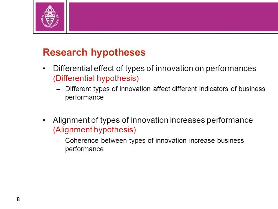 8 Research hypotheses Differential effect of types of innovation on performances (Differential hypothesis) –Different types of innovation affect different indicators of business performance Alignment of types of innovation increases performance (Alignment hypothesis) –Coherence between types of innovation increase business performance