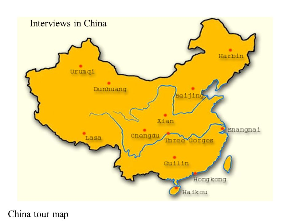 Interviews in China China tour map Interviews in China