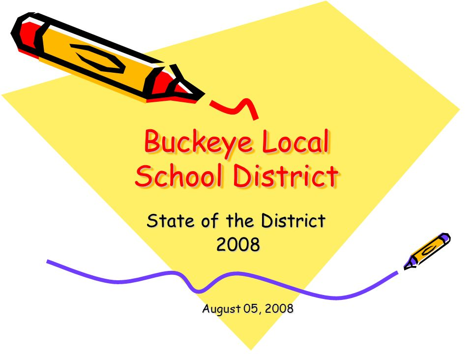 Buckeye Local School District State of the District 2008 2008 August 05, 2008