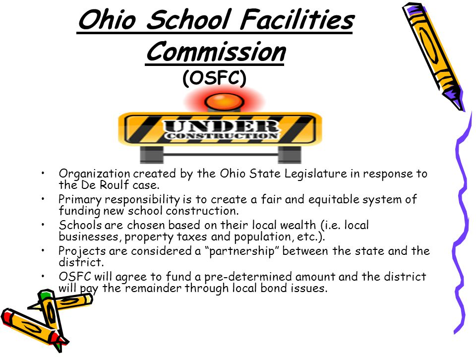 Ohio School Facilities Commission (OSFC) Organization created by the Ohio State Legislature in response to the De Roulf case.