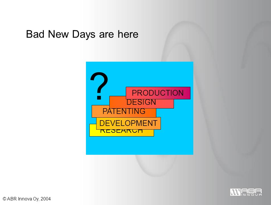 © ABR Innova Oy, 2004 RESEARCH DEVELOPMENT PATENTING DESIGN PRODUCTION Bad New Days are here