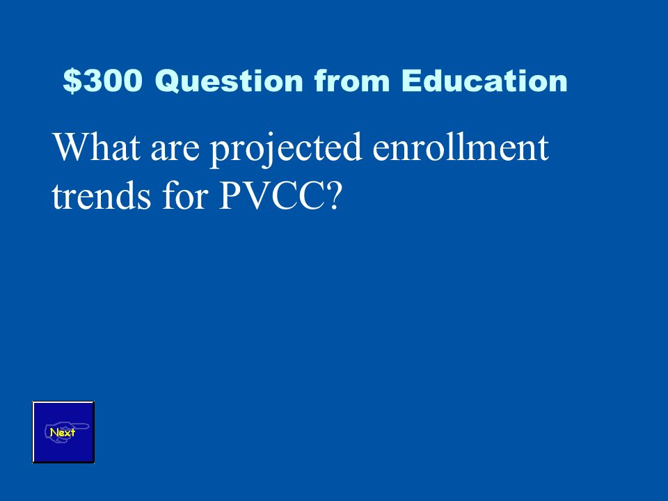 $300 Question from Education What are projected enrollment trends for PVCC