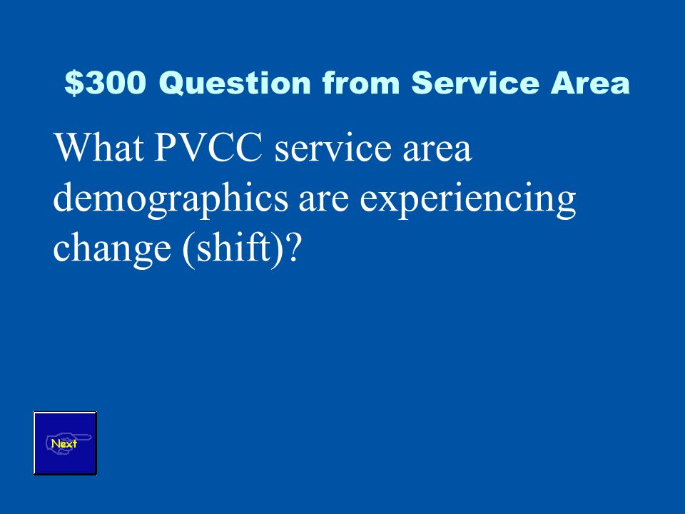 $300 Question from Service Area What PVCC service area demographics are experiencing change (shift)
