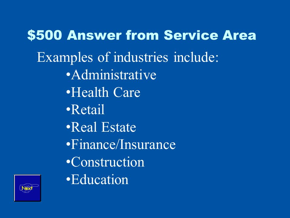 $500 Answer from Service Area Examples of industries include: Administrative Health Care Retail Real Estate Finance/Insurance Construction Education