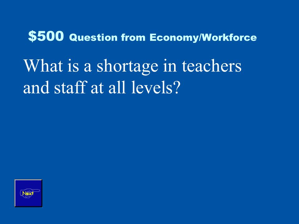 $500 Question from Economy/Workforce What is a shortage in teachers and staff at all levels