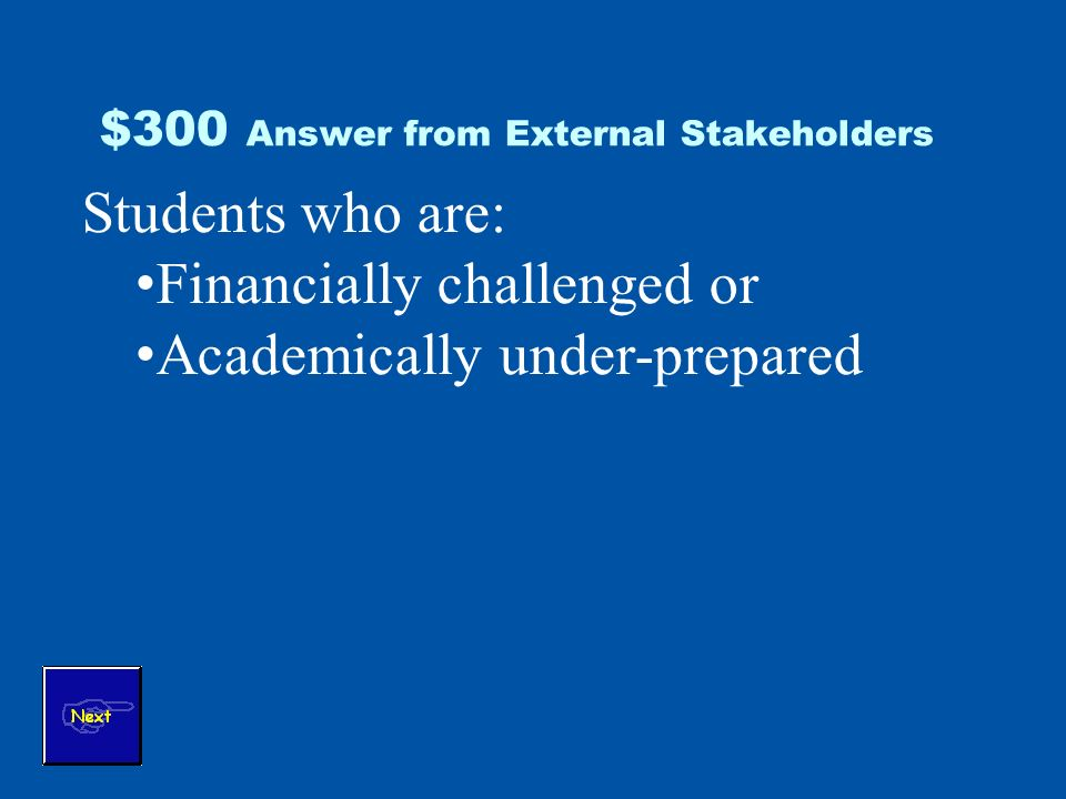 $300 Answer from External Stakeholders Students who are: Financially challenged or Academically under-prepared