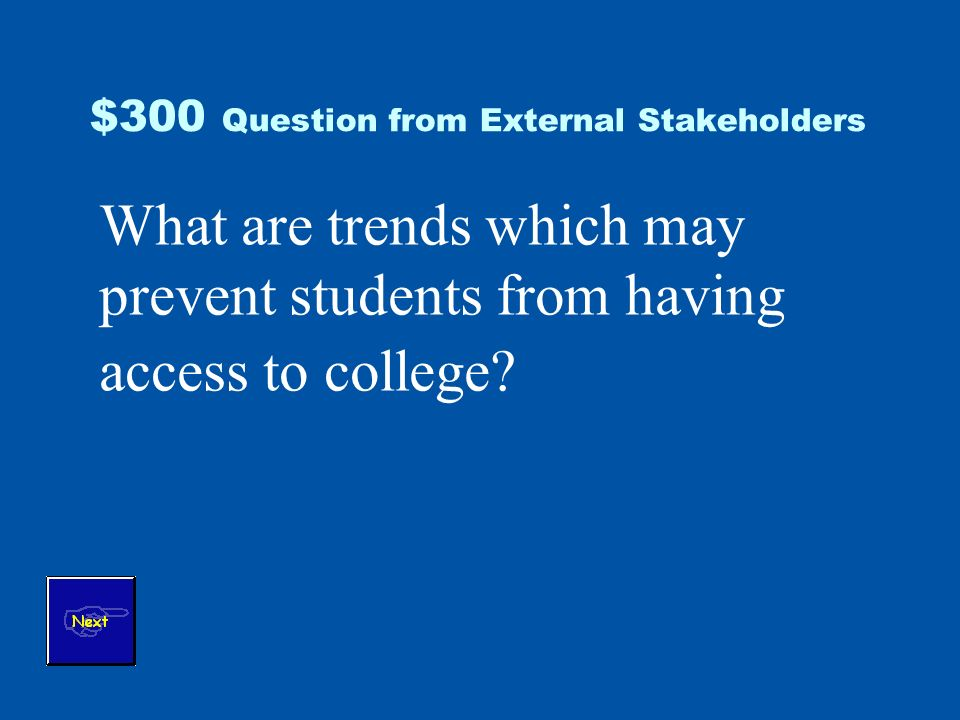 $300 Question from External Stakeholders What are trends which may prevent students from having access to college