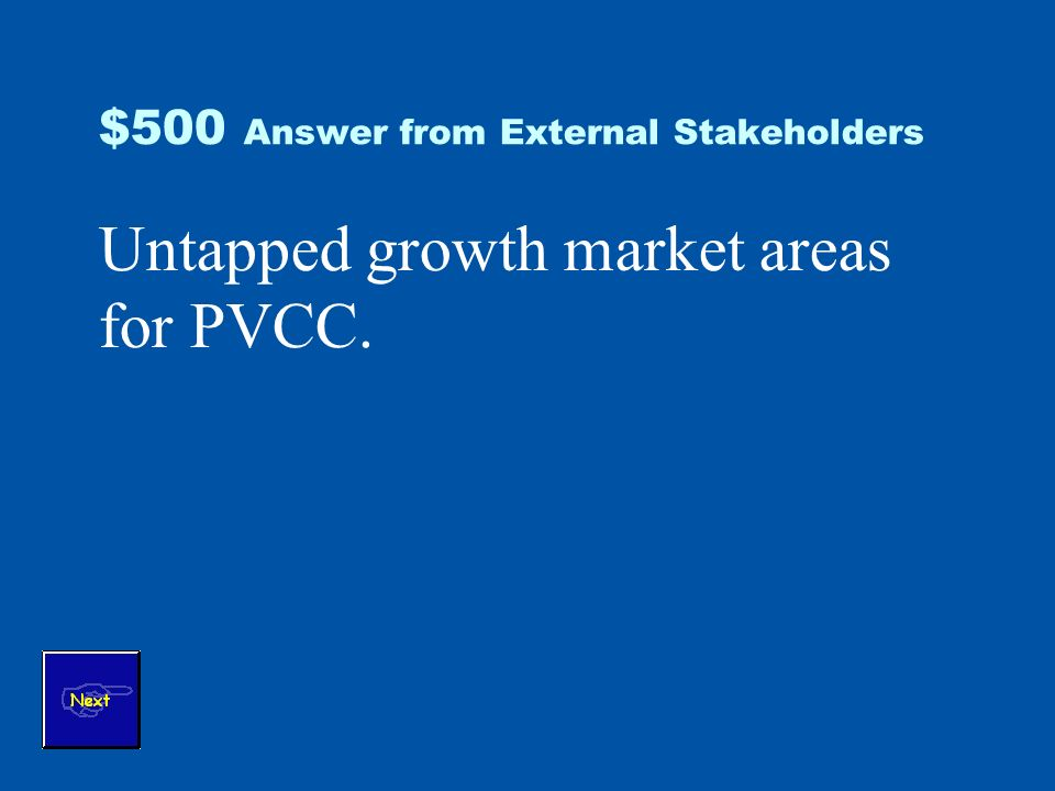 $500 Answer from External Stakeholders Untapped growth market areas for PVCC.