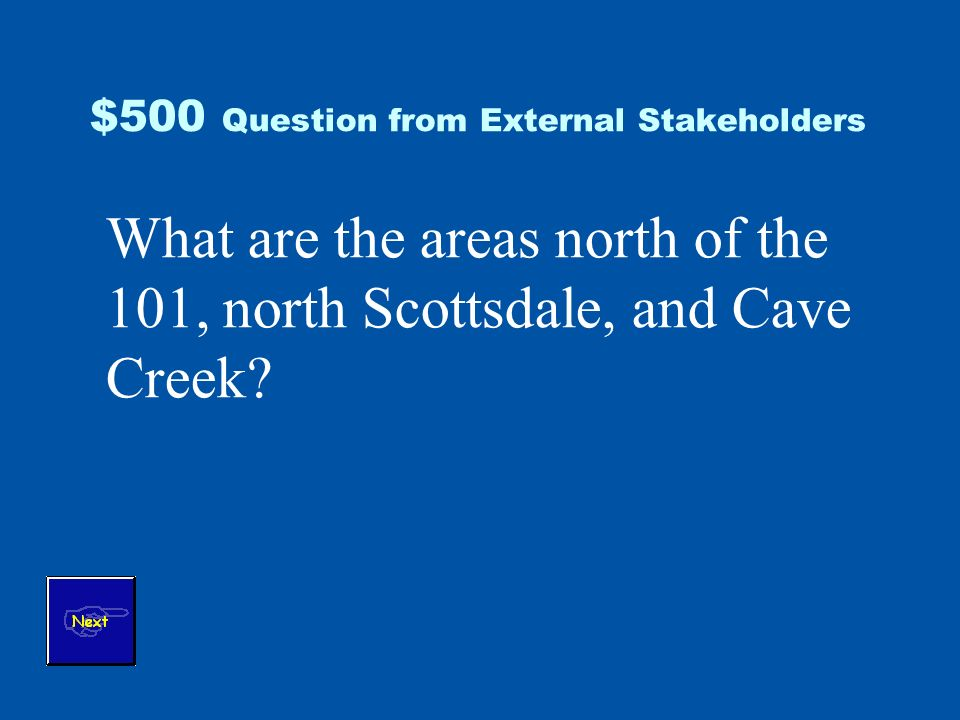 $500 Question from External Stakeholders What are the areas north of the 101, north Scottsdale, and Cave Creek