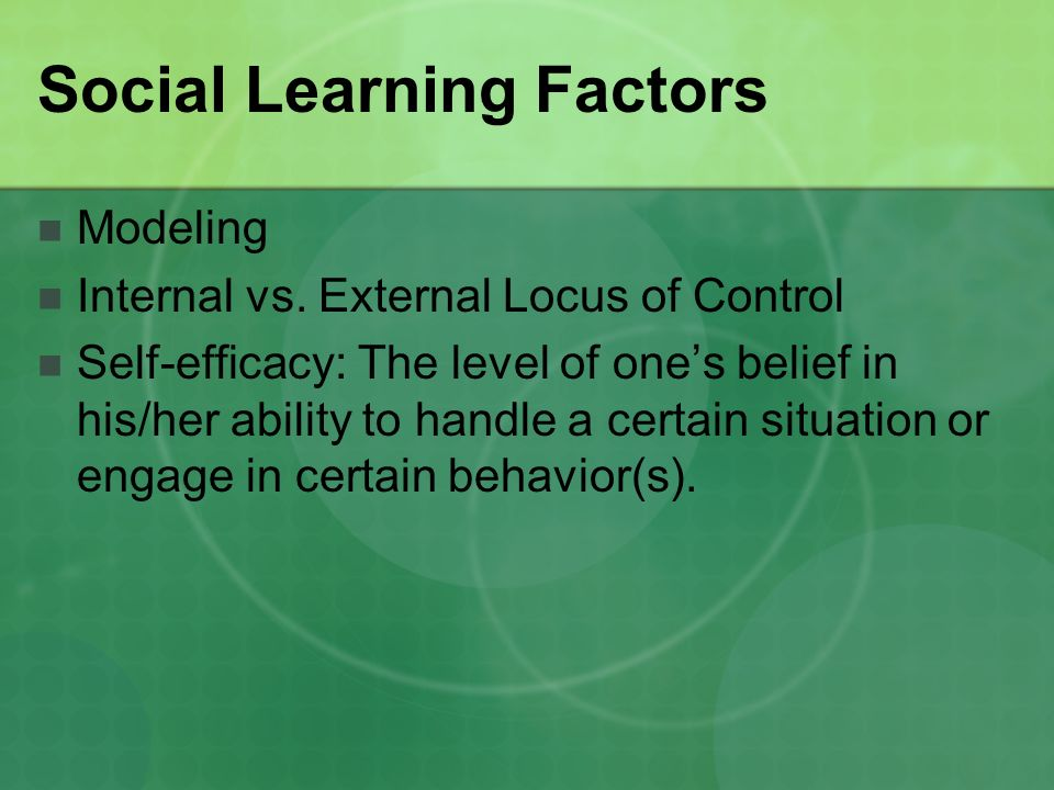 Social Learning Factors Modeling Internal vs.