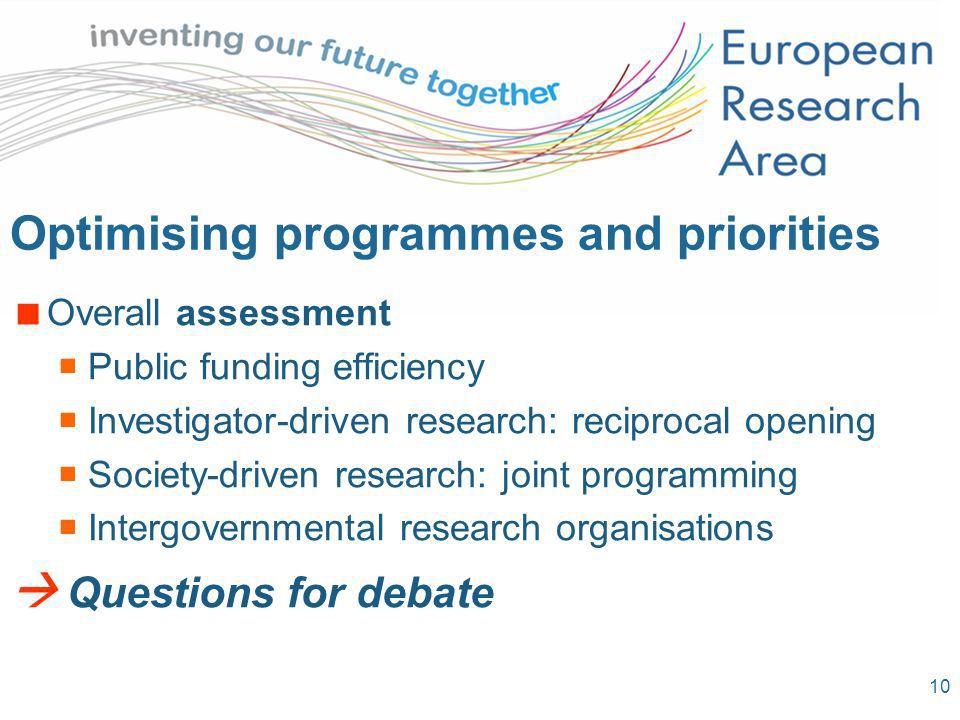 10 Optimising programmes and priorities Overall assessment Public funding efficiency Investigator-driven research: reciprocal opening Society-driven research: joint programming Intergovernmental research organisations Questions for debate