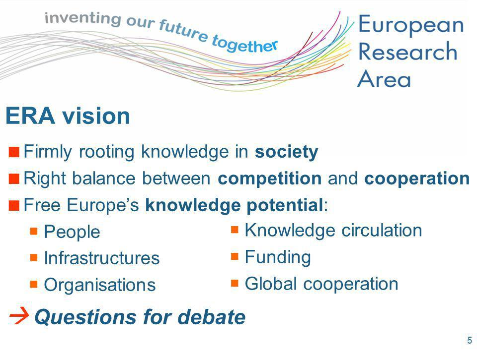5 ERA vision Firmly rooting knowledge in society Right balance between competition and cooperation Free Europes knowledge potential: People Infrastructures Organisations Questions for debate Knowledge circulation Funding Global cooperation
