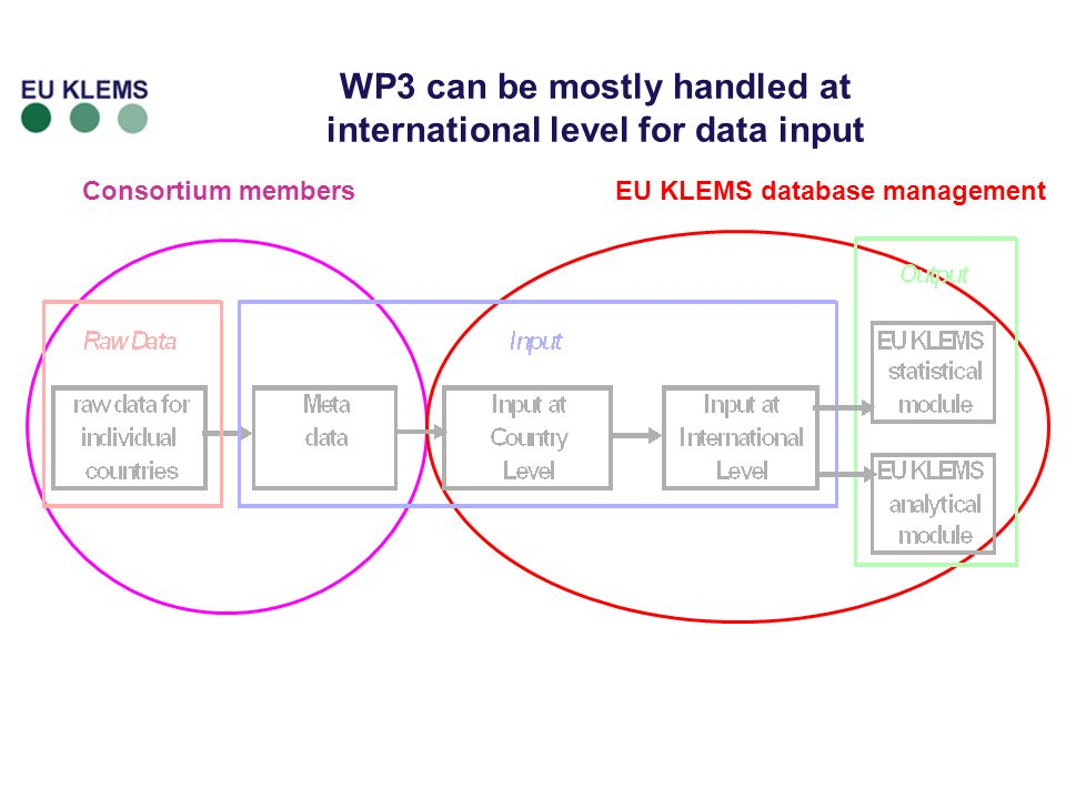 15 Consortium membersEU KLEMS database management WP3 can be mostly handled at international level for data input