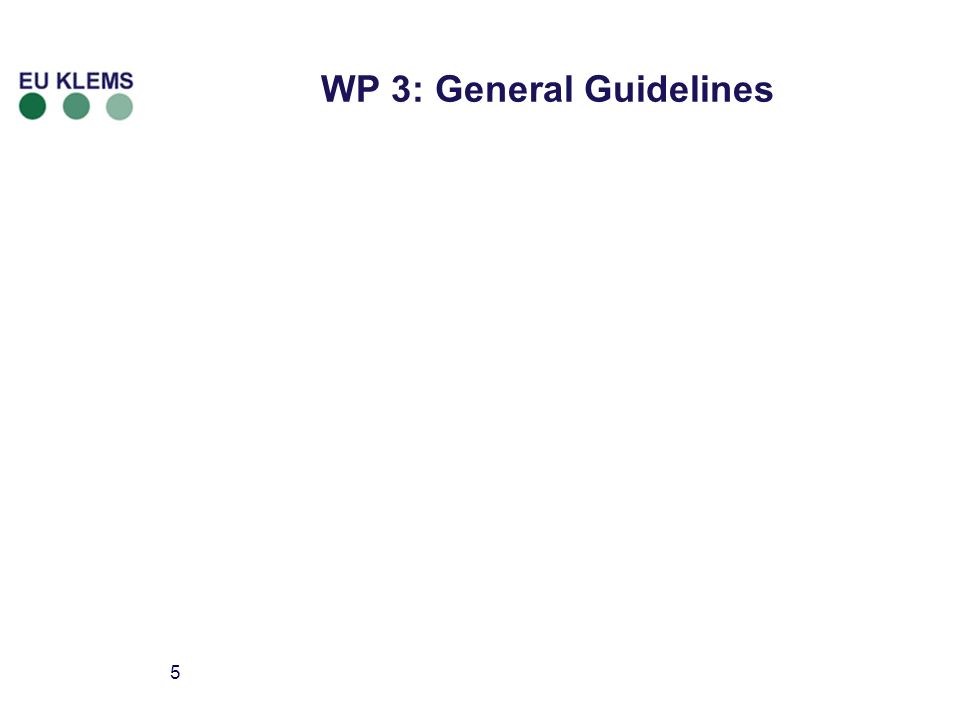 5 WP 3: General Guidelines