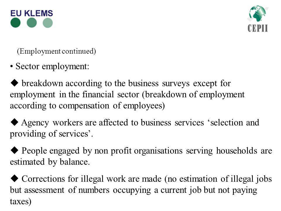 (Employment continued) Sector employment: breakdown according to the business surveys except for employment in the financial sector (breakdown of employment according to compensation of employees) Agency workers are affected to business services selection and providing of services.