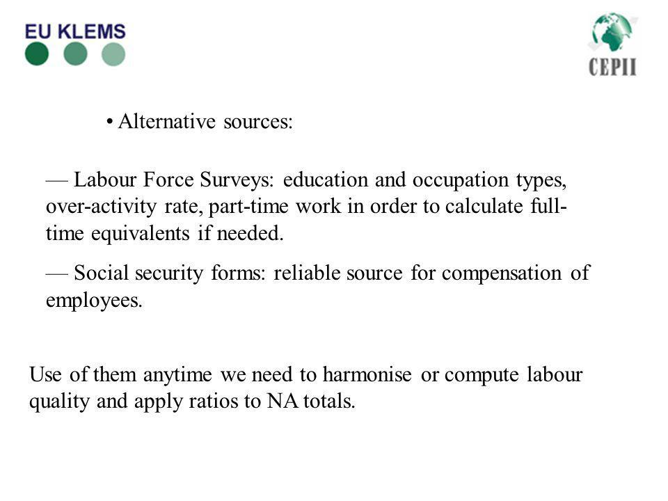 Alternative sources: Labour Force Surveys: education and occupation types, over-activity rate, part-time work in order to calculate full- time equivalents if needed.