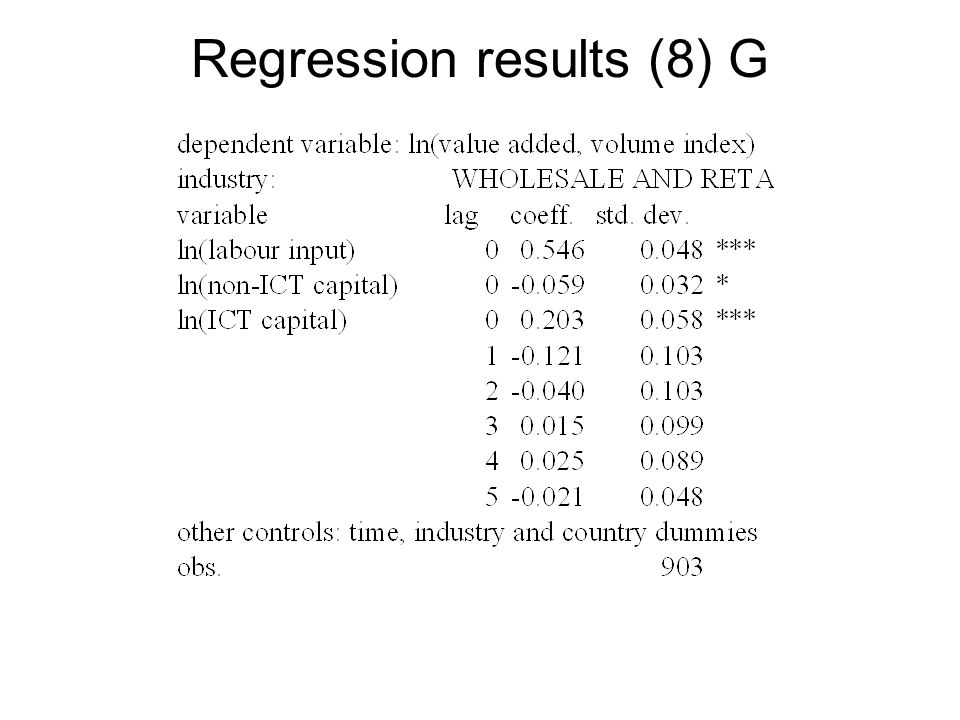 Regression results (8) G
