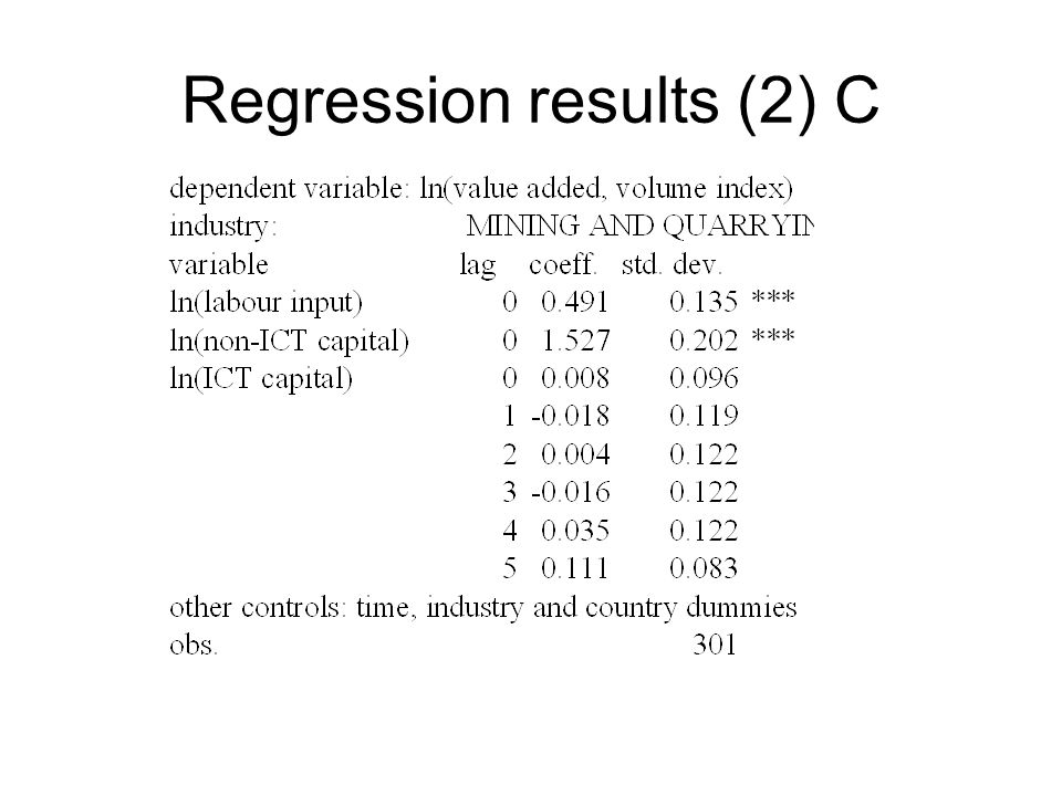 Regression results (2) C
