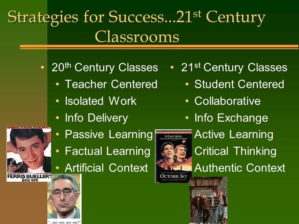 Strategies for Success...21 st Century Classrooms 20 th Century Classes Teacher Centered Isolated Work Info Delivery Passive Learning Factual Learning Artificial Context 21 st Century Classes Student Centered Collaborative Info Exchange Active Learning Critical Thinking Authentic Context