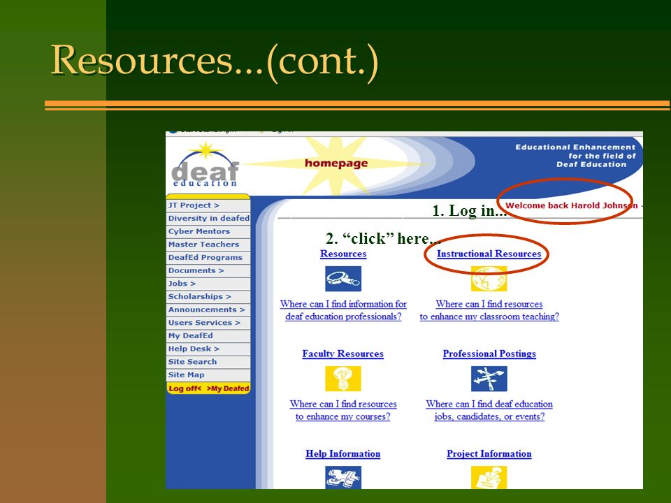 Resources...(cont.) 1. Log in... 2. click here...