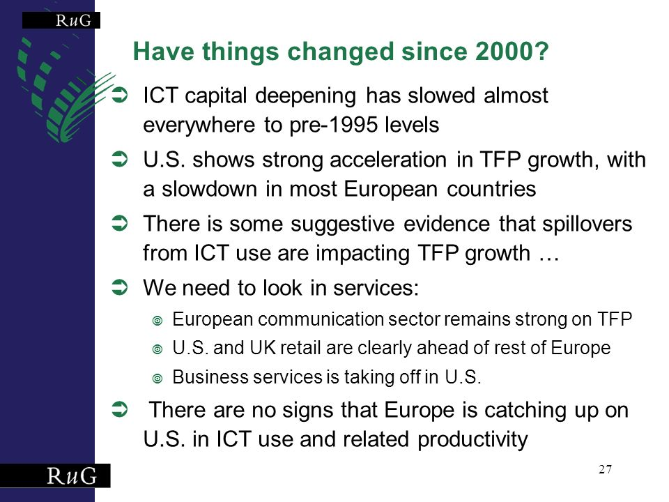 27 Have things changed since 2000.