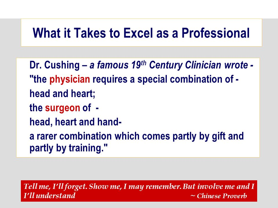 What it Takes to Excel as a Professional Dr.