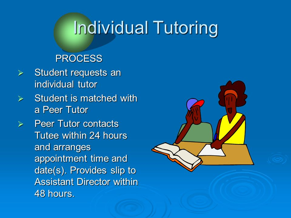 Individual Tutoring PROCESS Student requests an individual tutor Student requests an individual tutor Student is matched with a Peer Tutor Student is matched with a Peer Tutor Peer Tutor contacts Tutee within 24 hours and arranges appointment time and date(s).
