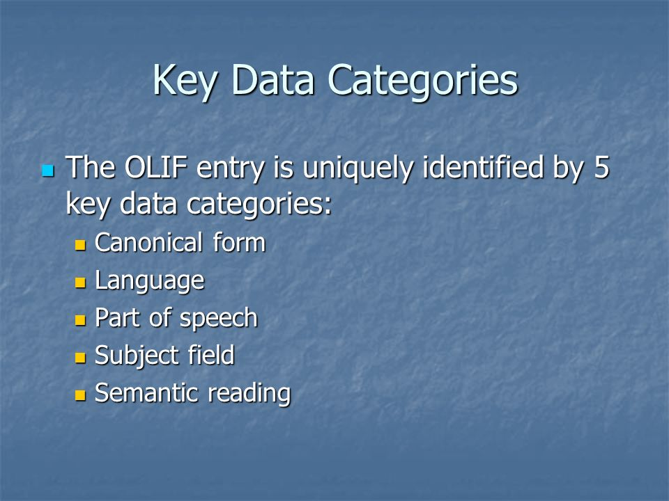 Key Data Categories The OLIF entry is uniquely identified by 5 key data categories: The OLIF entry is uniquely identified by 5 key data categories: Canonical form Canonical form Language Language Part of speech Part of speech Subject field Subject field Semantic reading Semantic reading