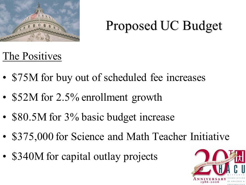 Proposed UC Budget The Positives $75M for buy out of scheduled fee increases $52M for 2.5% enrollment growth $80.5M for 3% basic budget increase $375,000 for Science and Math Teacher Initiative $340M for capital outlay projects