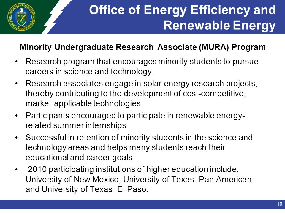 Office of Energy Efficiency and Renewable Energy Research program that encourages minority students to pursue careers in science and technology.