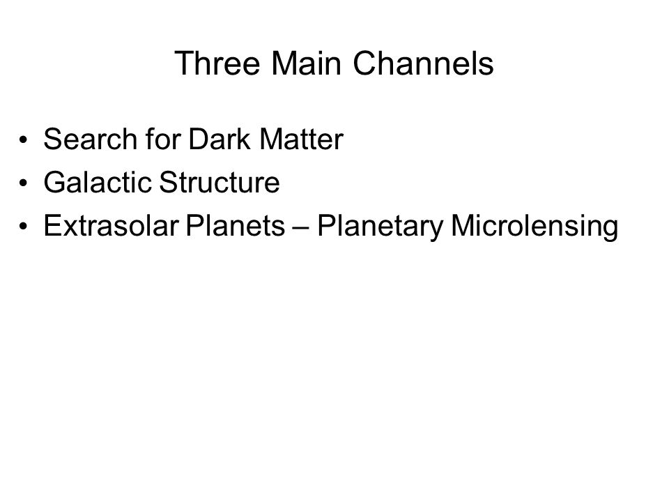 Three Main Channels Search for Dark Matter Galactic Structure Extrasolar Planets – Planetary Microlensing