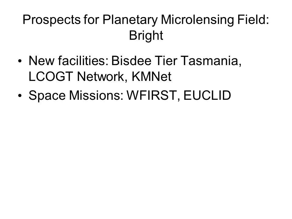 Prospects for Planetary Microlensing Field: Bright New facilities: Bisdee Tier Tasmania, LCOGT Network, KMNet Space Missions: WFIRST, EUCLID