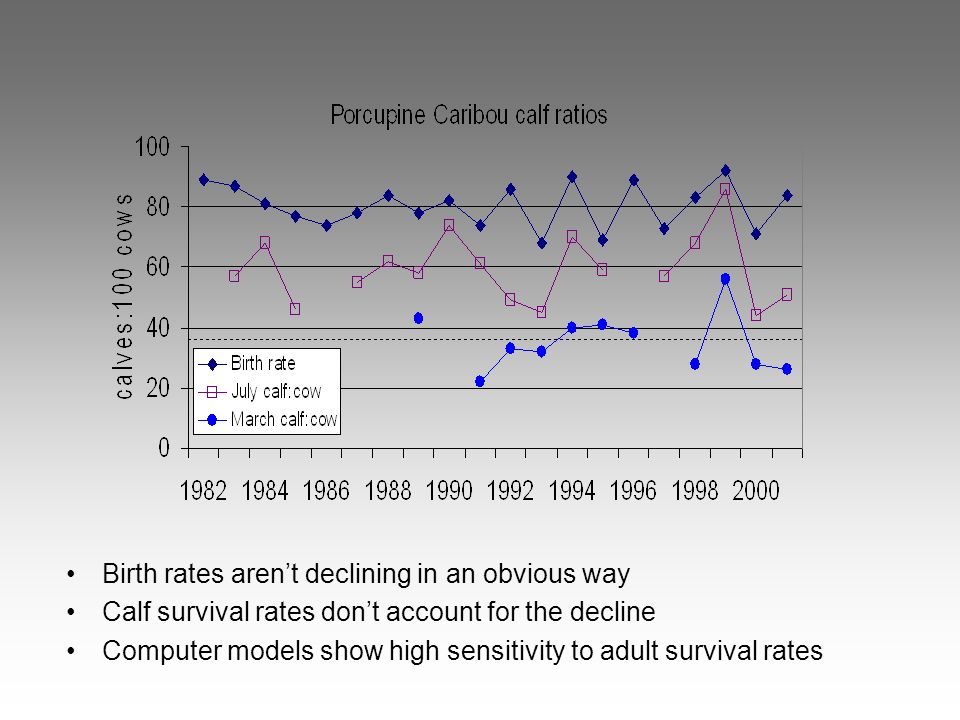 Birth rates arent declining in an obvious way Calf survival rates dont account for the decline Computer models show high sensitivity to adult survival rates