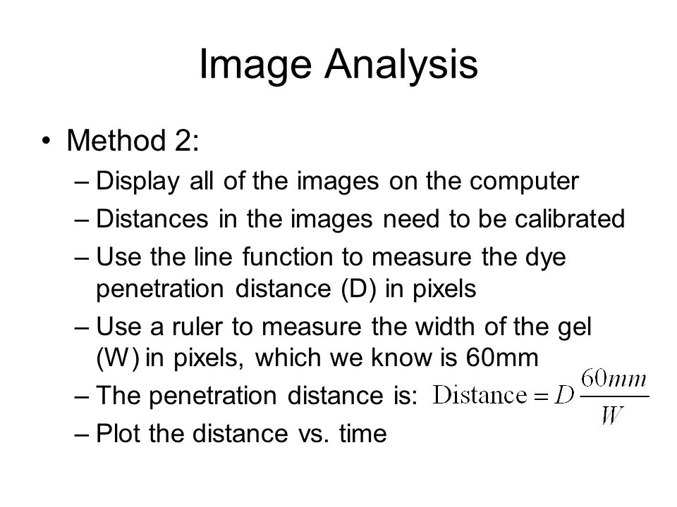 Image Analysis Method 2: –Display all of the images on the computer –Distances in the images need to be calibrated –Use the line function to measure the dye penetration distance (D) in pixels –Use a ruler to measure the width of the gel (W) in pixels, which we know is 60mm –The penetration distance is: –Plot the distance vs.