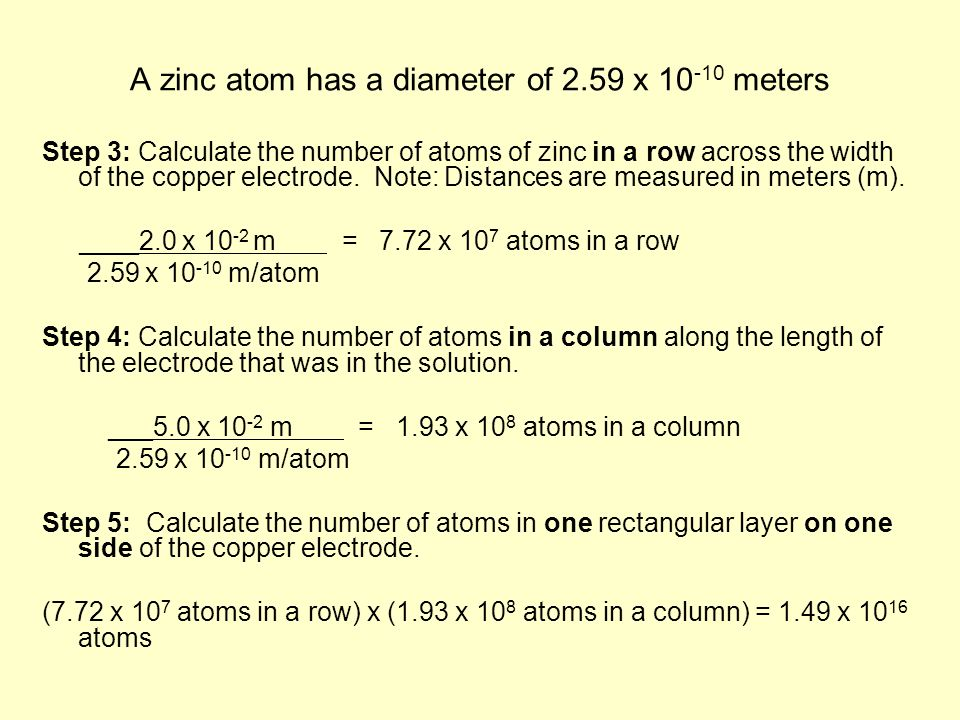 A zinc atom has a diameter of 2.59 x 10 -10 meters Step 3: Calculate the number of atoms of zinc in a row across the width of the copper electrode.