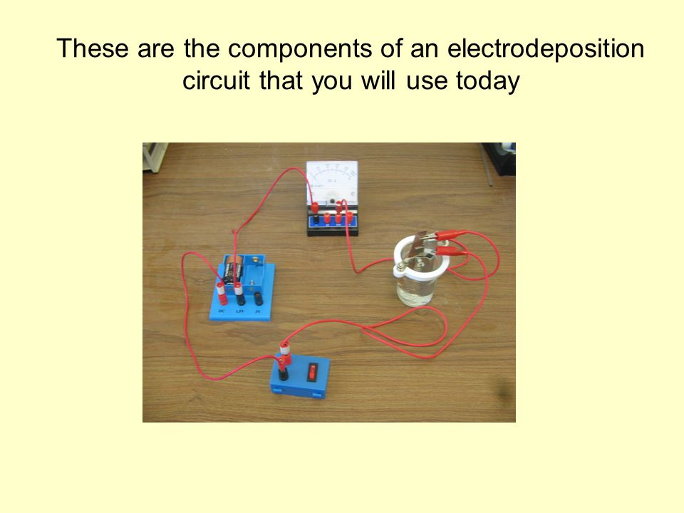These are the components of an electrodeposition circuit that you will use today