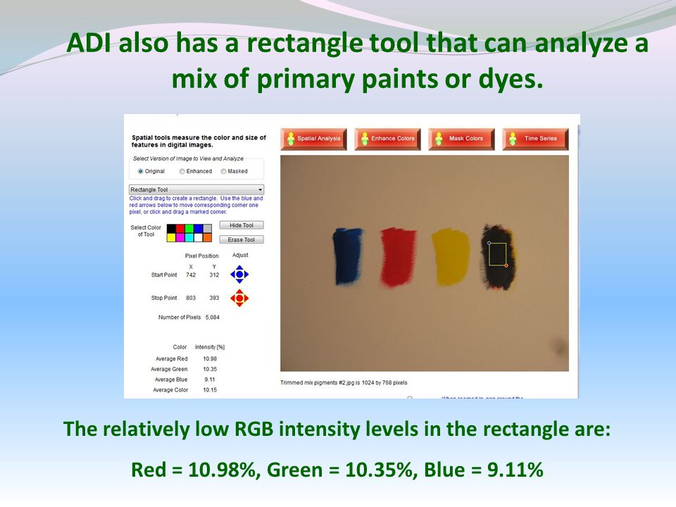 ADI also has a rectangle tool that can analyze a mix of primary paints or dyes.