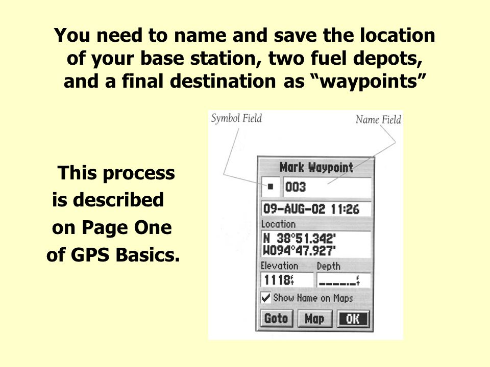 You need to name and save the location of your base station, two fuel depots, and a final destination as waypoints This process is described on Page One of GPS Basics.