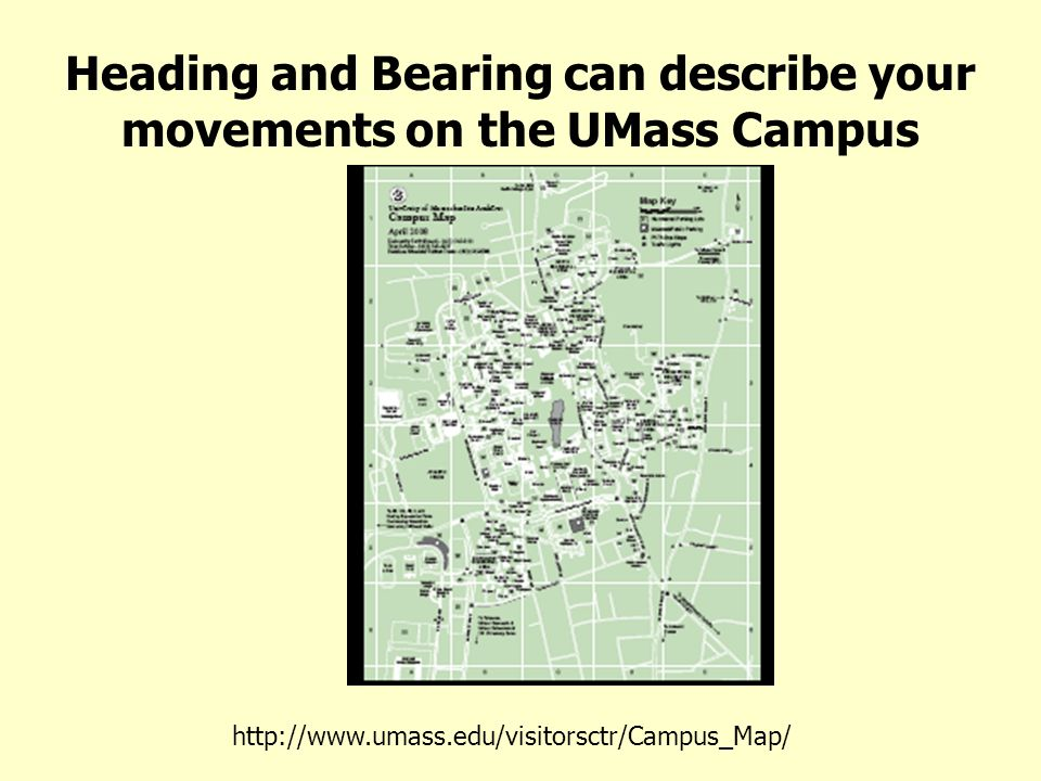 Heading and Bearing can describe your movements on the UMass Campus http://www.umass.edu/visitorsctr/Campus_Map/