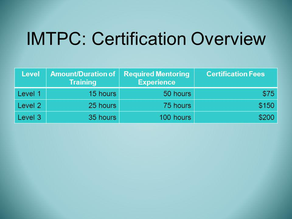 IMTPC: Certification Overview LevelAmount/Duration of Training Required Mentoring Experience Certification Fees Level 115 hours50 hours$75 Level 225 hours75 hours$150 Level 335 hours100 hours$200
