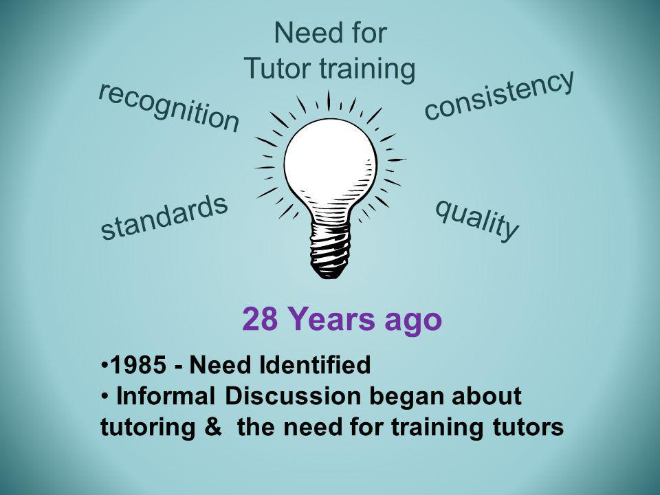 28 Years ago 1985 - Need Identified Informal Discussion began about tutoring & the need for training tutors Need for Tutor training consistency quality standards recognition